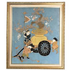 19th c Meiji Japanese Framed Needlework on Silk Fukusa Panel with Three Figures & A Wagon