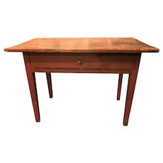 Country Hepplewhite One Drawer Table in Old Red Painted Surface