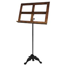 Antique Ebonized Cast Iron Music Stand with Oak Top