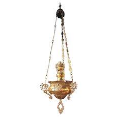 19th Century Electrified Hanging Church Lantern in Brass