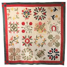 Antique Quilt or Coverlet with Appliques of Flowers, Wreaths, Birds & Good Luck Horseshoe
