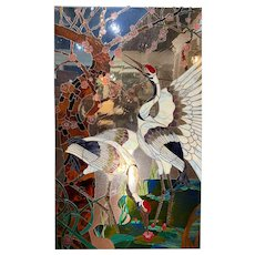 Jack Trompetter Large Stained and Leaded Glass Window with Herons Monogrammed JZT, 1984