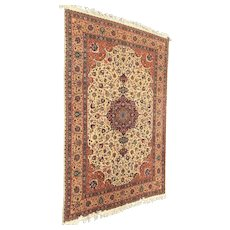 Handwoven Tabriz Persian Wool Rug with Central Medallion, circa 1960