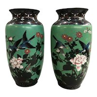 Pair of 19th c Chinese Polychrome Cloisonne Vases with Floral & Bird Decoration
