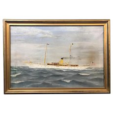 Oil Painting Yacht or Ship Portrait of S.Y. Diana with Ship Menu & Photo Album
