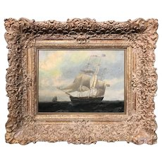 19th c American Sailing Ship Oil Painting in an Elaborate Frame