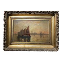 Walter Lansil Oil Painting of a Venetian Harbor Scene with Boats