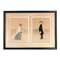 Rosalie P. Bye Folk Art Pair of Quaker Three Dimensional Framed Silhouettes