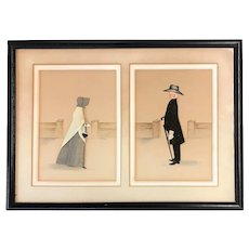 Rosalie P. Bye Folk Art Pair of Quaker Three Dimensional Framed Silhouettes