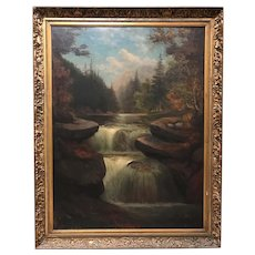 Sylvester Phelps Hodgdon Landscape Oil Painting, Jackson Falls, NH 1880