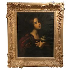 19th c Allegorical Painting of a Young Woman with an Urn