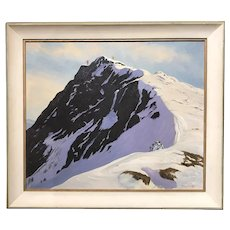 Edward J. Ray Skiing Landscape Oil Painting , The Ridge on Mount Mansfield, VT 1971