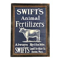 Early 20th c Swift's Animal Fertilizer Advertising Framed Broadside with Bull, Boston MA