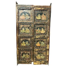 Pair of 19th Century Polychrome Wooden Indian Doors with Genre Scenes