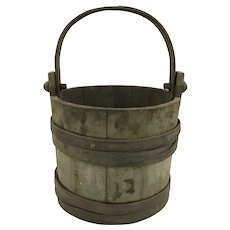 19th c Primitive Handled Wooden Firkin in Old Blue/Gray Paint