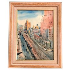 Joseph Anthony Buzzelli Cityscape Watercolor Painting, New York City Scene, 10th Avenue, 1932