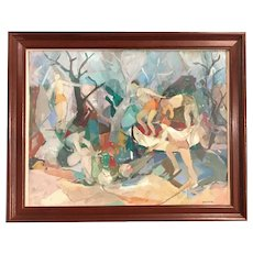 Helen Steketee  Impressionist Gouache Painting with Figures, Double Sided