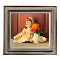 Sid (Sydney) Frank Willis Still Life Oil Painting of a Doll with Flowers