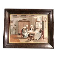 19th c English Interior Needlework Genre Scene of Women Sewing in an Oak Frame