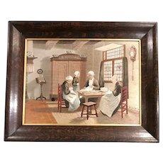 19th c English Interior Needlework Genre Scene of Women Sewing in an Oak Frame