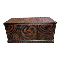 Early 19th c Folk Art American Blanket Chest with Bold Swirl Paint Decoration
