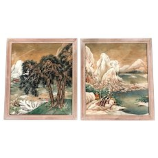 Pair of Chinese Mountain Scene Watercolor Paintings on Silk by Margrethe for John Wanamaker