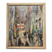Gudrun G. Payne Impressionist Oil Painting of a Cityscape 1959