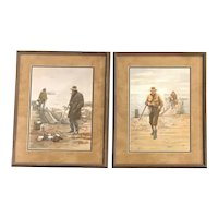 Arthur Burdett Frost Pair of Duck Hunting Sporting Prints, Good Luck / Bad Luck