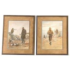 Arthur Burdett Frost Pair of Duck Hunting Sporting Prints, Good Luck / Bad Luck
