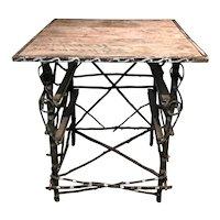 Folk Art Adirondack Paint Decorated Twig Table circa 1900