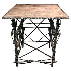 Folk Art Adirondack Paint Decorated Twig Table circa 1900