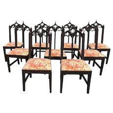 Set of Nine 19th Century Gothic Revival Dining Chairs in Mahogany