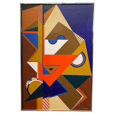 J. Goldberg Cubist Abstract Oil Painting in the Manner of Picasso 1977