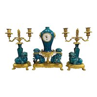 19th Century Ormolu French Three-Piece Clock Set in the Chinese Taste