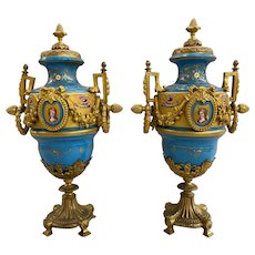 19th Century Pair of French Sevres Celeste Blue Porcelain Urns with Gilt Ormolu
