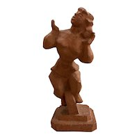 Chaim Gross Terracotta Studio Sculpture of a Woman on a Unicycle circa 1950's