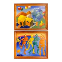 J. Hance Pair of Mid Century Colorful Cubist Paintings with Figures & Balloons