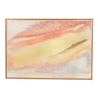 Jeff Hoare Abstract Watercolor /Gouache Painting, Wave Cry #16 circa 1970's