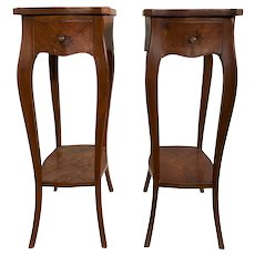 Pair of 19th Century French Marquetry One-Drawer End Tables