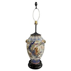 19th c Chinese Polychrome Porcelain Vase Converted to Lamp with Foo Dog Handles