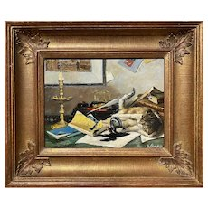 Whimsical Trompe L'Oeil Oil Painting of Cat Playing on a Desk