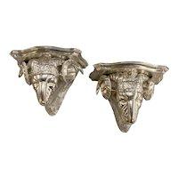 Pair of Italian Silver Leaf Rams Head Figural Wooden Wall Brackets
