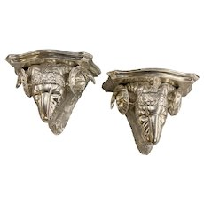 Pair of Italian Silver Leaf Rams Head Figural Wooden Wall Brackets