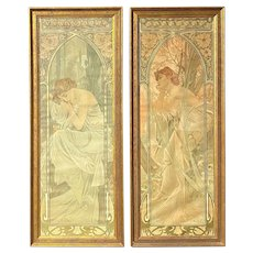 Alphonse Maria Mucha Art Nouveau Pair of Lithographs of Two Young Women, Times of the Day, 1899