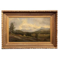 Samuel W. Griggs White Mountain Landscape Oil Painting, View of Franconia Notch from the South