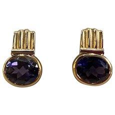 Pair of Estate Iolite Ladies Earrings set in 14K Gold Setting