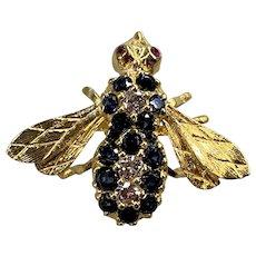 Estate Sapphire & Diamond Bee Pin in 18K Gold Setting