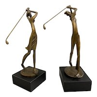 Pair of Modernist Golf Bronze Figural Sculptures, Man & Woman Golfers, Signed Kim B.