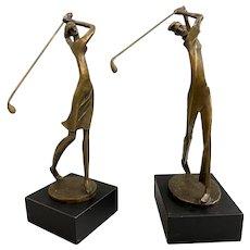Pair of Modernist Golf Bronze Figural Sculptures, Man & Woman Golfers, Signed Kim B.