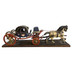 Early 20th c European Folk Art Polychrome Carriage with Two Horses